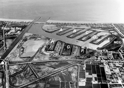 1961: Dredging of Basins D & E. Outlines of Basins F,G, & H in foreground.
