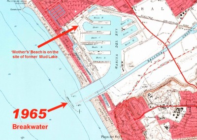 1965 Map of Marina del Rey shows the Breakwater in place