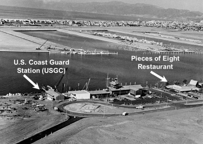 "United States Coast Guard Station Marina del Rey under construction. Families drove on empty streets to get to the Pieces of Eight Restaurant where a ""peg leg pirate"" met you at the door."