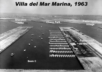 Villa del Mar Marina in 1963. Without the docks built out the boaters have the kind of room sailors wish they had today!