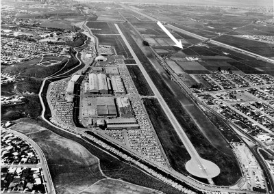 Hughes Aircraft complex  with the Pacific Electric Railway (the white arrow) running along a path that would be great to have today to mitigate traffic.