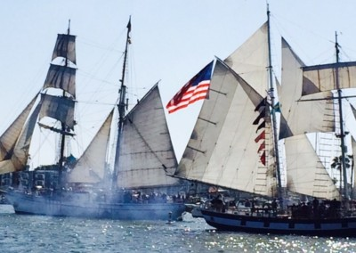 The brig Irving Johnson and Topsail Schooner Amazing Grace provided a mock battle thrilling all in the area
