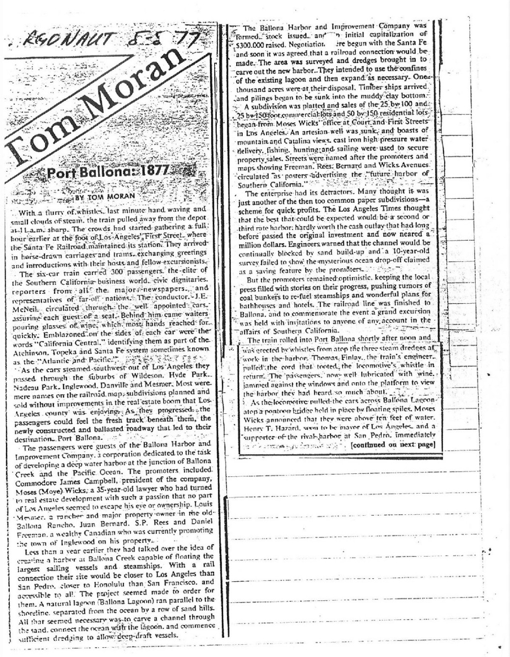 1977 Aug 5 Argonaut Tom Moran Port Ballona Article 1